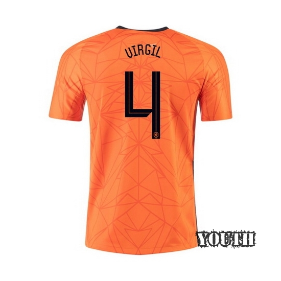 2020 Virgil Van Dijk Netherlands Home Youth Soccer Jersey