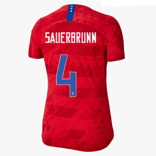 USA Away Becky Sauerbrunn 2019/20 Women's Stadium Jersey 4 Star