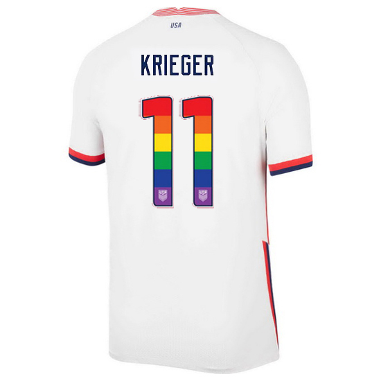 White Ali Krieger 2020/2021 Men's Stadium Rainbow Number Jersey