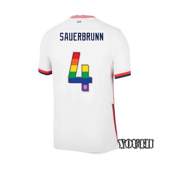 White Becky Sauerbrunn 2020 Youth Stadium Rainbow Number Jersey