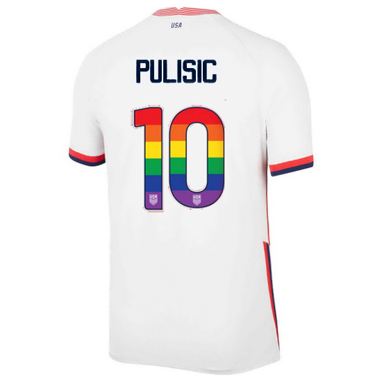 White Christian Pulisic 2020/2021 Men's Stadium Rainbow Number Jersey