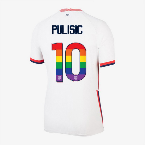 Home Christian Pulisic 20/21 Women's Stadium Rainbow Number Jersey