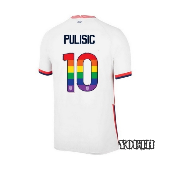 White Christian Pulisic 2020 Youth Stadium Rainbow Number Jersey