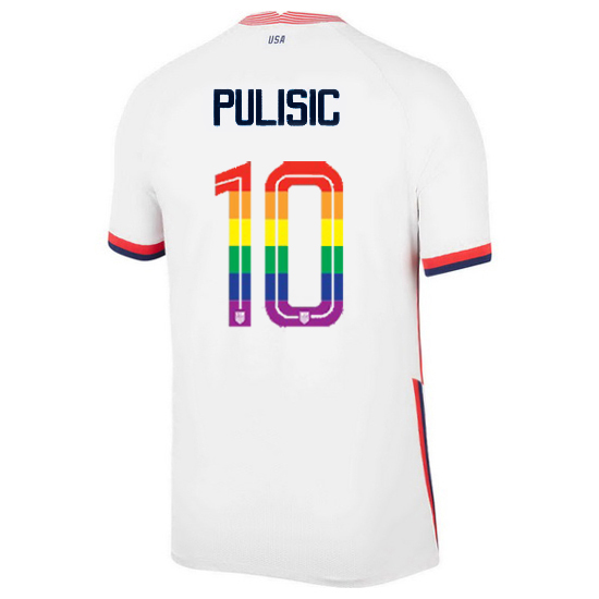 USA Home Christian Pulisic 2020/21 Men's Stadium PRIDE Jersey