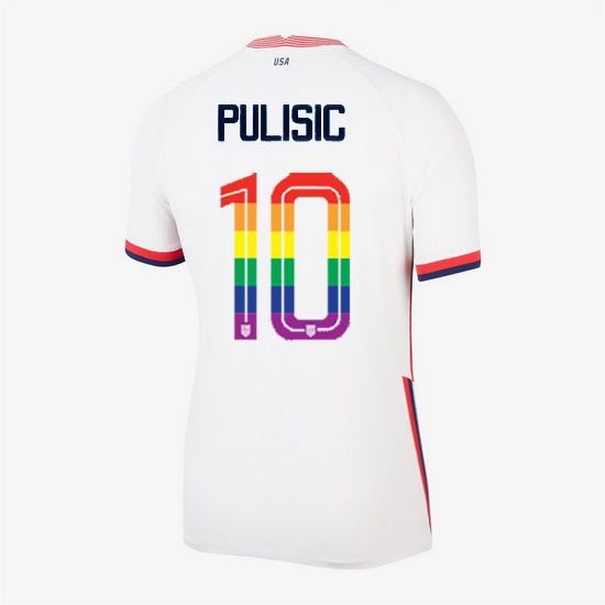 USA White Christian Pulisic 2020/2021 Women's Stadium PRIDE Jersey