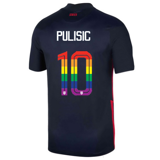 USA Away Christian Pulisic 2020/21 Men's Stadium PRIDE Jersey