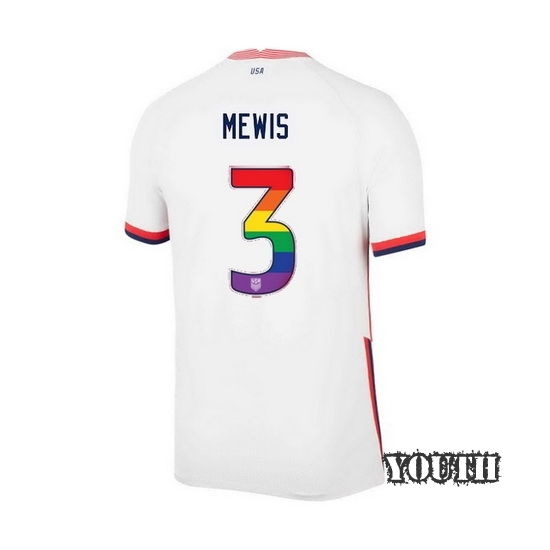 White Samantha Mewis 2020 Youth Stadium Rainbow Number Jersey